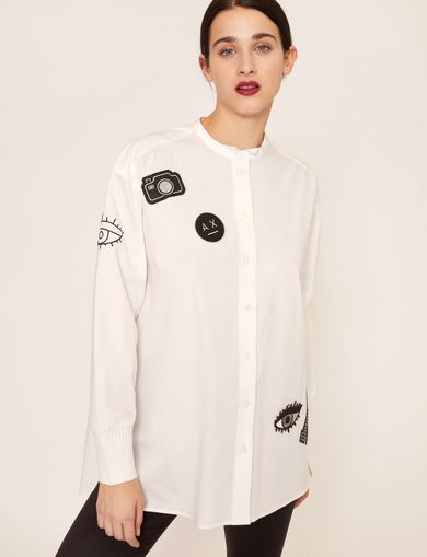 LOGO PATCH BAND COLLAR SHIRT