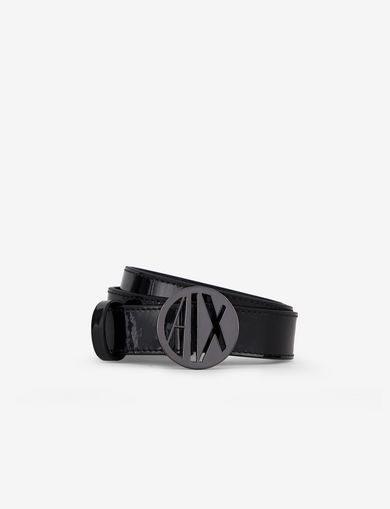 PATENT CIRCLE LOGO BUCKLE BELT