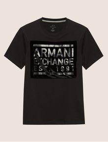 ARMANI EXCHANGE FLOCKED TONAL LOGO TEE Logo T-shirt Man r