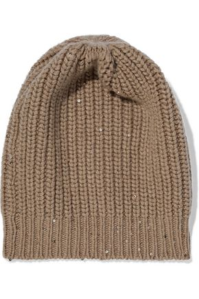 BRUNELLO CUCINELLI Sequined ribbed cashmere and silk-blend beanie