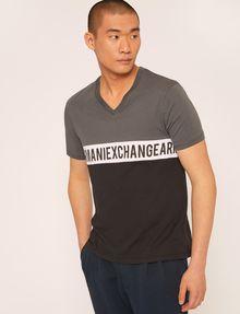 ARMANI EXCHANGE REGULAR-FIT WRAPAROUND LOGO V-NECK Logo T-shirt Man f