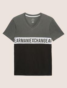 ARMANI EXCHANGE REGULAR-FIT WRAPAROUND LOGO V-NECK Logo T-shirt Man r