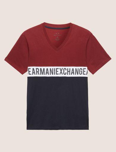 ツートーンカラーVネックTシャツ