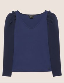 ARMANI EXCHANGE RUFFLE SLEEVE V-NECK TOP L/S Knit Top Woman r