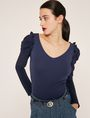 ARMANI EXCHANGE RUFFLE SLEEVE V-NECK TOP L/S Knit Top Woman a