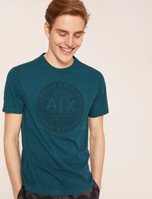 ARMANI EXCHANGE DEBOSSED ROUND LOGO TEE Logo T-shirt Man a