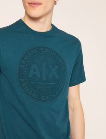 ARMANI EXCHANGE DEBOSSED ROUND LOGO TEE Logo T-shirt [*** pickupInStoreShippingNotGuaranteed_info ***] b
