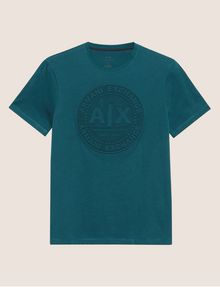 ARMANI EXCHANGE DEBOSSED ROUND LOGO TEE Logo T-shirt [*** pickupInStoreShippingNotGuaranteed_info ***] r