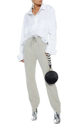VETEMENTS Mélange French cotton-blend terry track pants