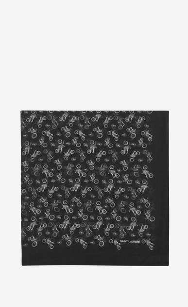 SAINT LAURENT Squared Scarves Woman Large square scarf in black and white motorcycle print challis  a_V4