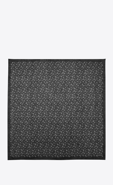 SAINT LAURENT Squared Scarves Woman Large square scarf in black and white motorcycle print challis  b_V4