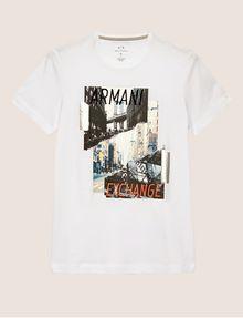 ARMANI EXCHANGE T-SHIRT SLIM CON STAMPA DI PAESAGGIO URBANO E LOGO EFFETTO STRAPPATO T-shirt senza logo Uomo r
