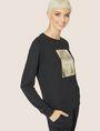 ARMANI EXCHANGE METALLIC EMBOSSED LOGO SWEATSHIRT TOP Fleece Top Woman f