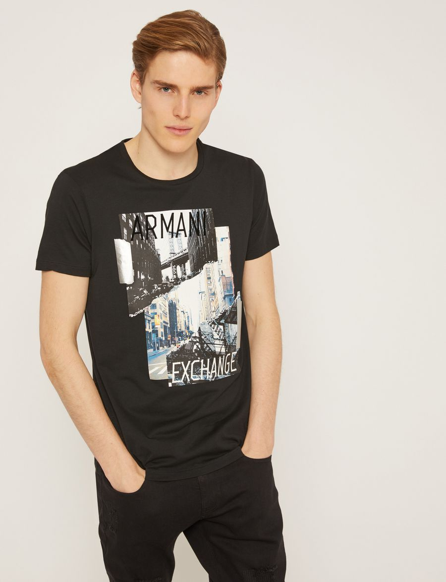 Armani Exchange Torn Cityscape Slim Logo Tee Graphic T Shirt