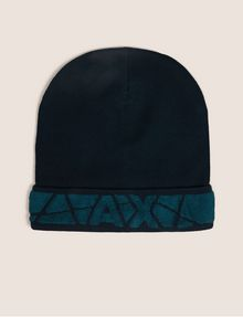 ARMANI EXCHANGE FRACTURED LOGO KNIT BEANIE Hat Man f
