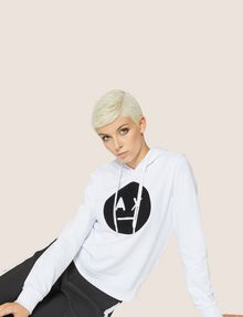 ARMANI EXCHANGE A|X EMOJI LOGO HOODIE Fleece Top Woman a