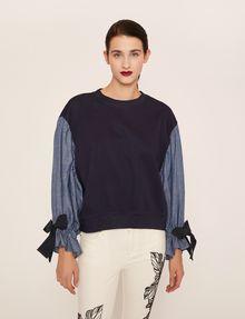 ARMANI EXCHANGE DENIM SLEEVE SWEATSHIRT TOP Sweatshirt Woman f