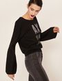 ARMANI EXCHANGE EMBELLISHED LOGO BALLOON-SLEEVE SWEATER Crew Neck Woman a