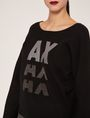 ARMANI EXCHANGE EMBELLISHED LOGO BALLOON-SLEEVE SWEATER Crew Neck Woman b