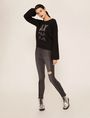 ARMANI EXCHANGE EMBELLISHED LOGO BALLOON-SLEEVE SWEATER Crew Neck Woman d