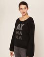 ARMANI EXCHANGE EMBELLISHED LOGO BALLOON-SLEEVE SWEATER Crew Neck Woman f