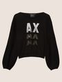 ARMANI EXCHANGE EMBELLISHED LOGO BALLOON-SLEEVE SWEATER Crew Neck Woman r