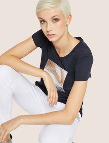 ARMANI EXCHANGE METALLIC EMBOSSED LOGO TEE Logo T-shirt Woman a