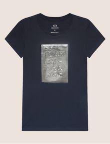 ARMANI EXCHANGE METALLIC EMBOSSED LOGO TEE Logo T-shirt Woman r