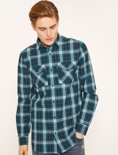 REGULAR-FIT PLAID WORK SHIRT