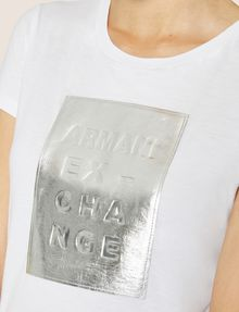 ARMANI EXCHANGE METALLIC EMBOSSED LOGO TEE Logo T-shirt Woman b
