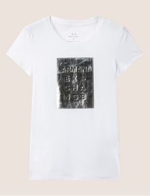 ARMANI EXCHANGE METALLIC EMBOSSED LOGO TEE Logo T-shirt Woman r