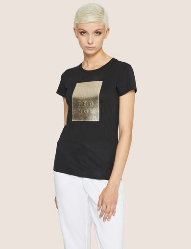 T-SHIRT CON LOGO METALLIZZATO IN RILIEVO