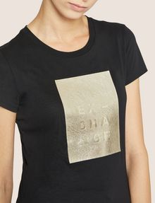 ARMANI EXCHANGE T-SHIRT MIT PRÄGELOGO IN METALLIC-OPTIK Logo-T-Shirt Damen b
