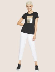 ARMANI EXCHANGE T-SHIRT MIT PRÄGELOGO IN METALLIC-OPTIK Logo-T-Shirt Damen d
