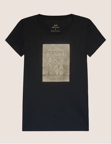 ARMANI EXCHANGE T-SHIRT MIT PRÄGELOGO IN METALLIC-OPTIK Logo-T-Shirt Damen r