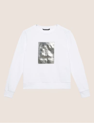 METALLIC EMBOSSED LOGO SWEATSHIRT TOP