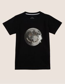ARMANI EXCHANGE BOYS SLIM-FIT FACE FROM SPACE TEE Logo T-shirt Man f