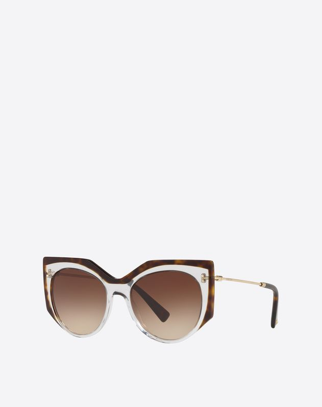 TWO-TONE SQUARE CAT-EYE FRAME ACETATE SUNGLASSES