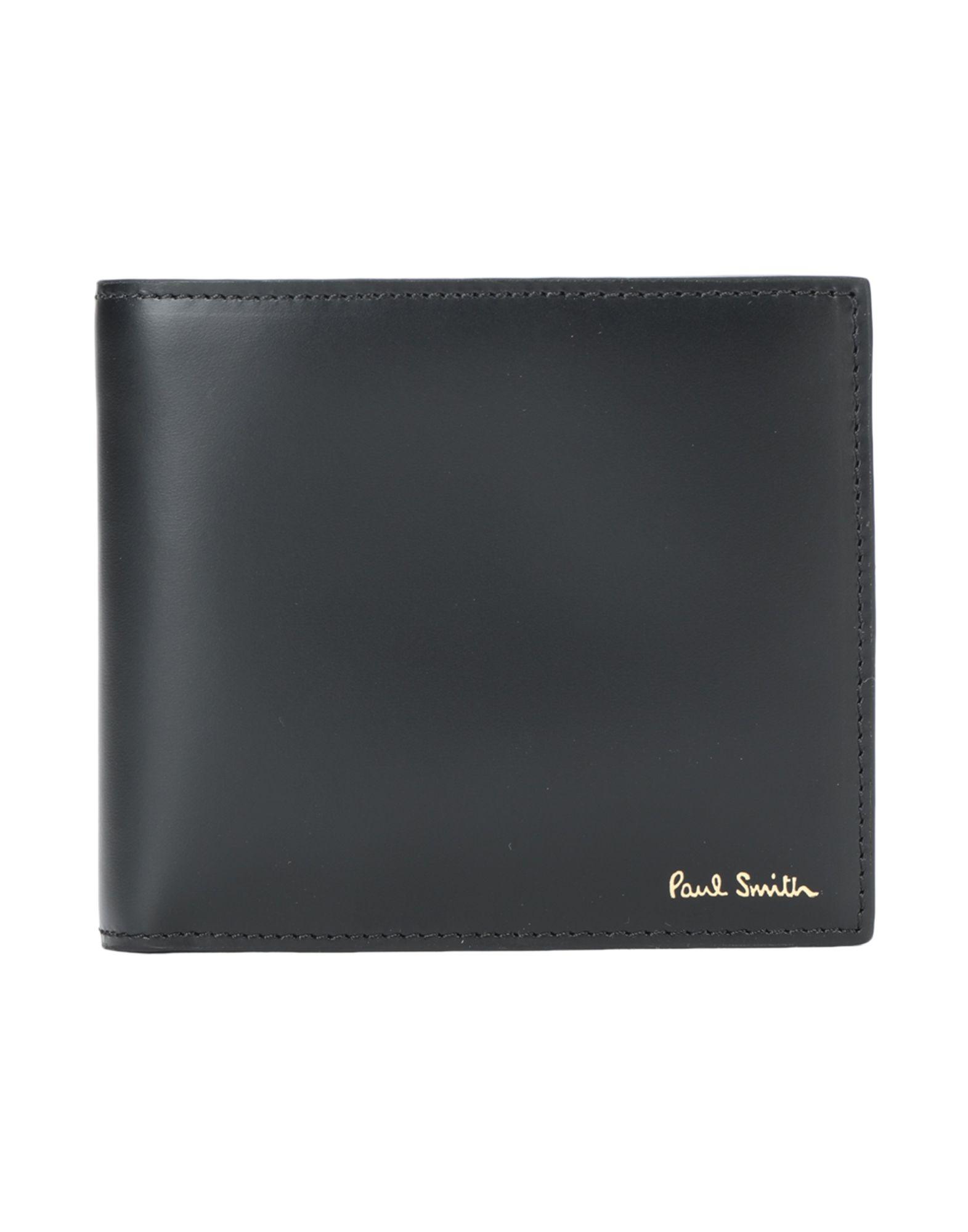 《送料無料》PAUL SMITH メンズ 財布 ブラック 牛革 100%