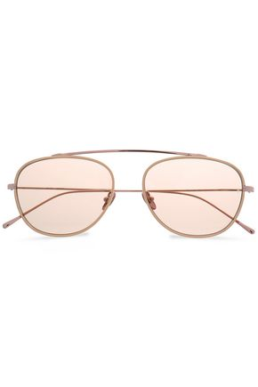 SUNDAY SOMEWHERE Aviator-style rose gold-tone and acetate sunglasses