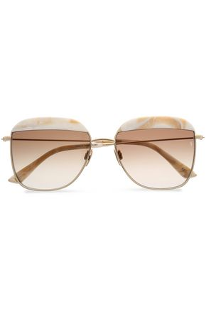 SUNDAY SOMEWHERE Square-frame printed acetate and gold-tone sunglasses