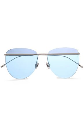 SUNDAY SOMEWHERE Aviator-style rose gold-tone sunglasses