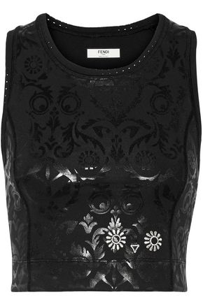 FENDI Embroidered coated top