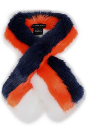 CHARLOTTE SIMONE Printed faux fur scarf