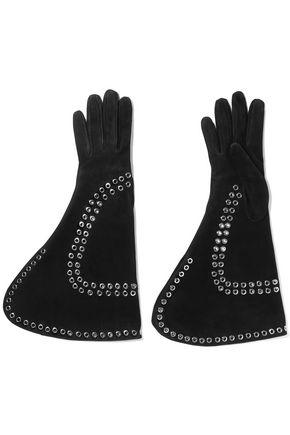 ALEXANDER MCQUEEN Eyelet-embellished suede gloves