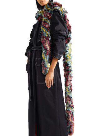 MISSONI Fringed metallic knitted scarf