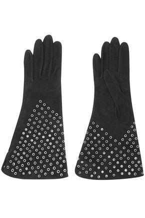 ALAÏA Eyelet-embellished suede gloves