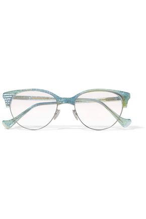 CUTLER AND GROSS Cat-eye glittered acetate sunglasses