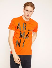 ARMANI EXCHANGE OLIVE DRAB SLIM LOGO TEE Logo T-shirt Man f