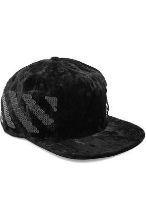 OFF-WHITE™ Sequin-embellished velvet baseball cap